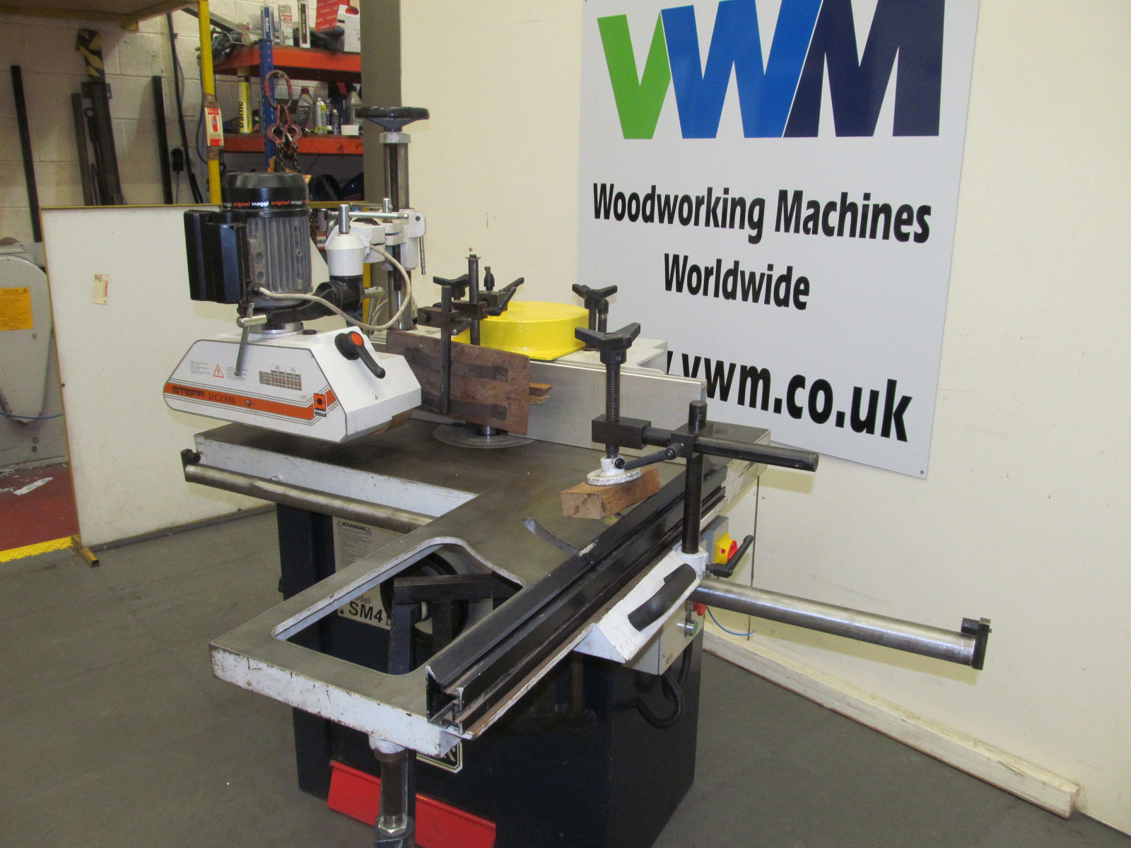 Sedgwick SM-4 Mk2 spindle with power feed and sliding table top view